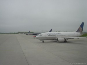 Airplanes lined up