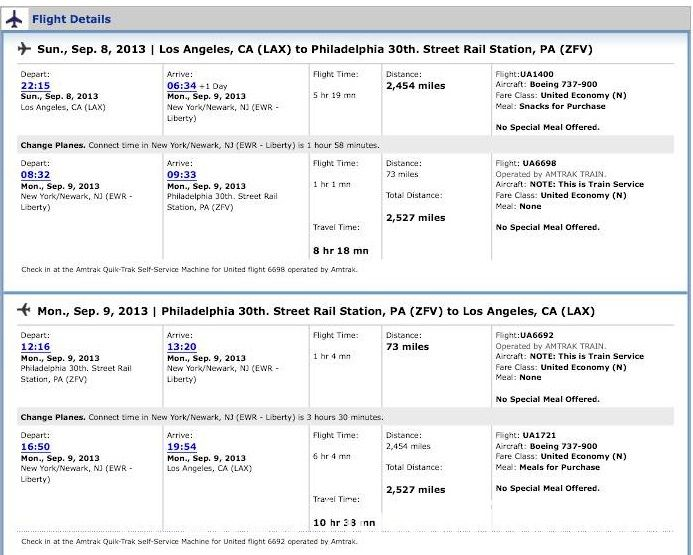 フィラデルフィア日帰り旅行 旅程表