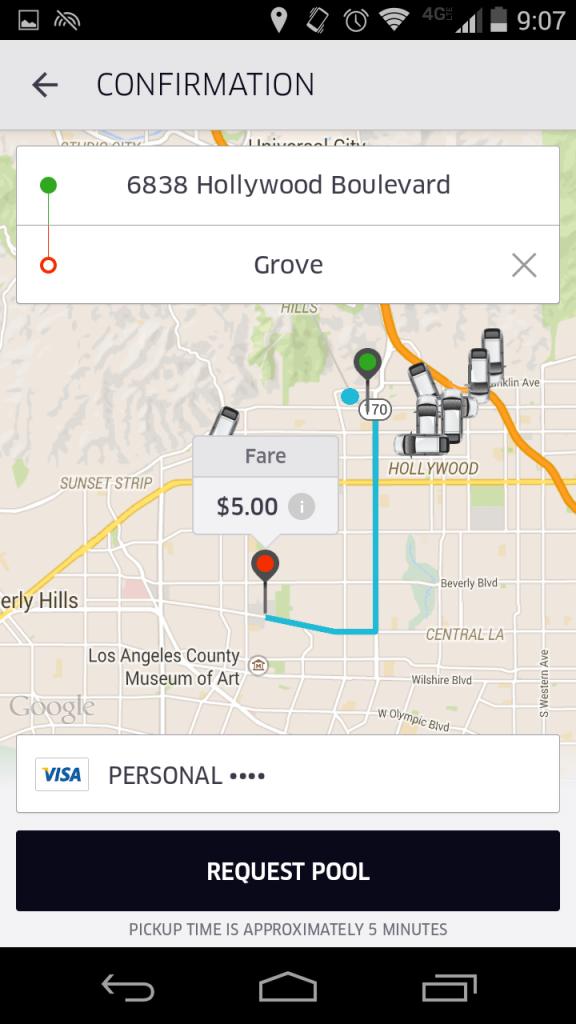 Ride Poolを選択すると、ハリウッド&ハイランドからThe Groveまでなんと5ドル!