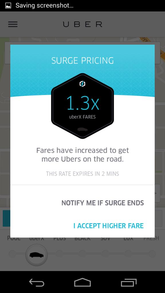 混雑時の割増料金。利用者の割合に対してUberの数が少ない場合、割り増し料金になります。