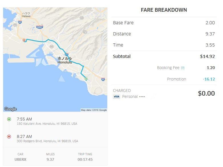 Uberでワイキキビーチ周辺のホテルからホノルル国際空港まで移動(料金詳細、0ドルになっているのは、プロモコード適応で運賃無料になったため)